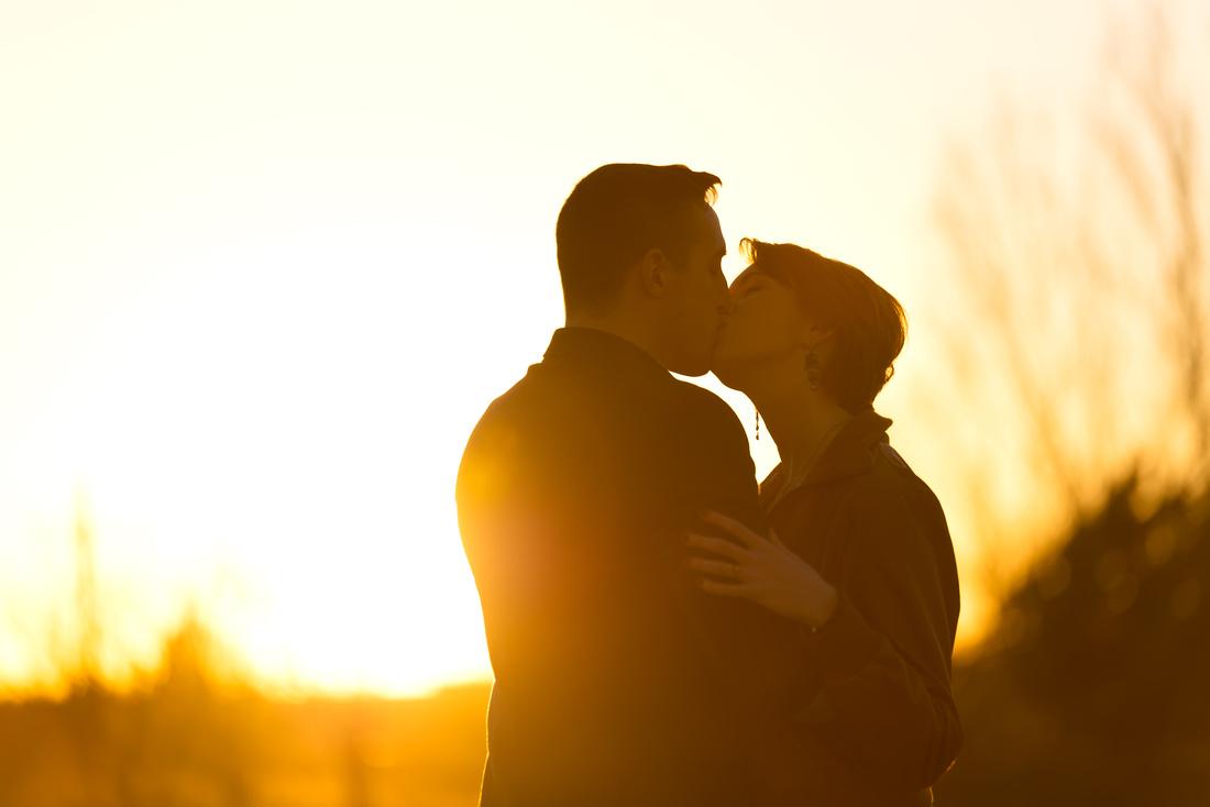 OKC Engagement Kiss Sunset